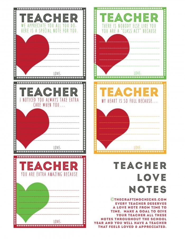 Teacher Love Notes & BACK TO SCHOOL PRINTABLES Teacher