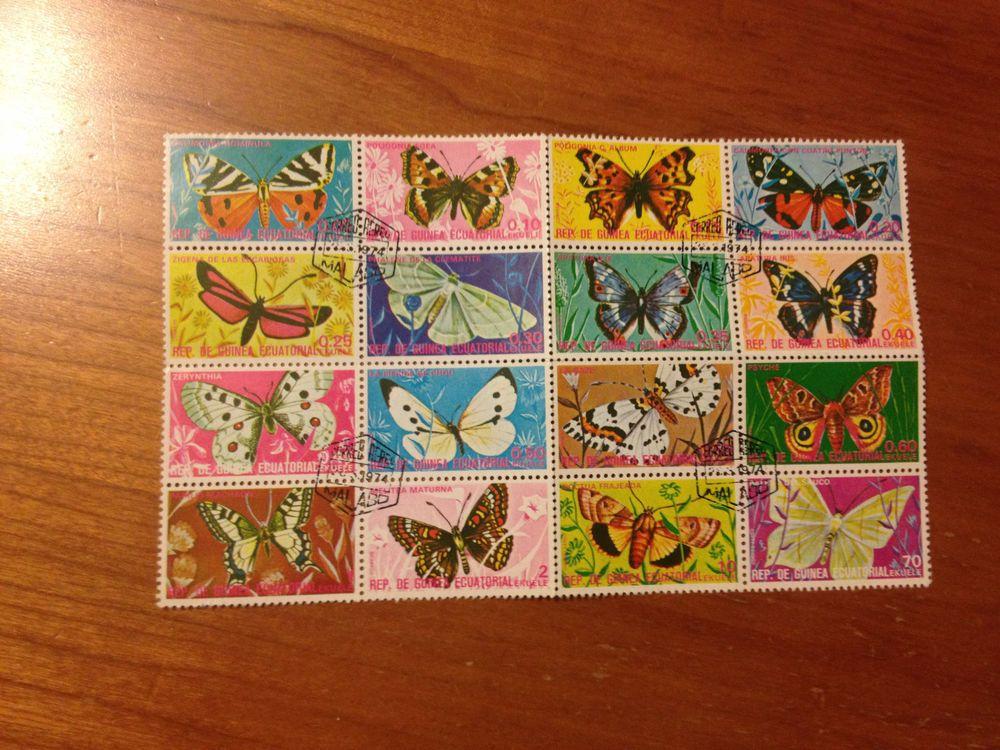 Equatorial Guinea Butterflies 1974 Sheet Set of 16