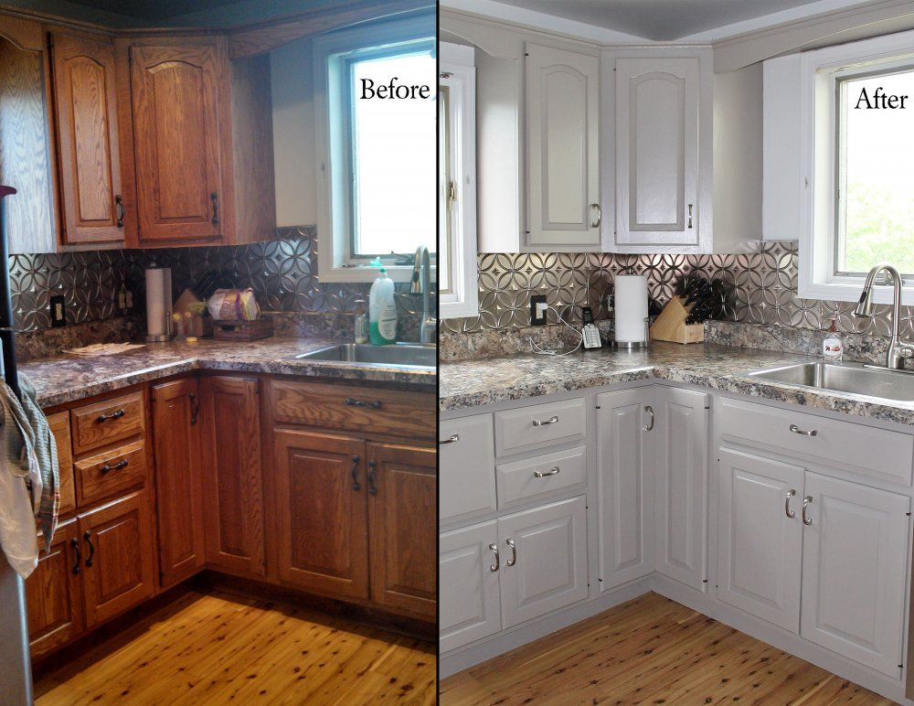 painting oak kitchen before and after with white