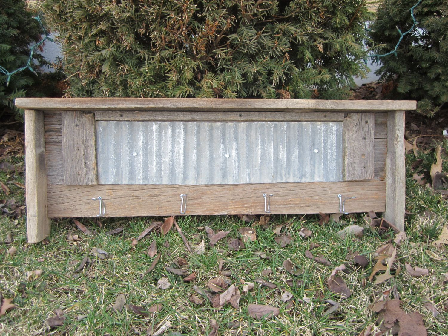 Rustic Reclaimed Barn Wood Shelf With Metal Hooks And