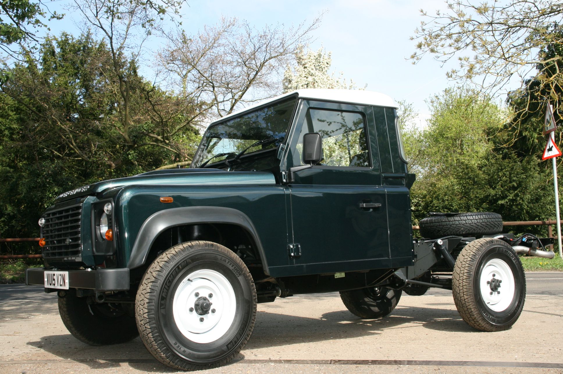 Land Rover Defender 110 chassis cab with cab extension kit