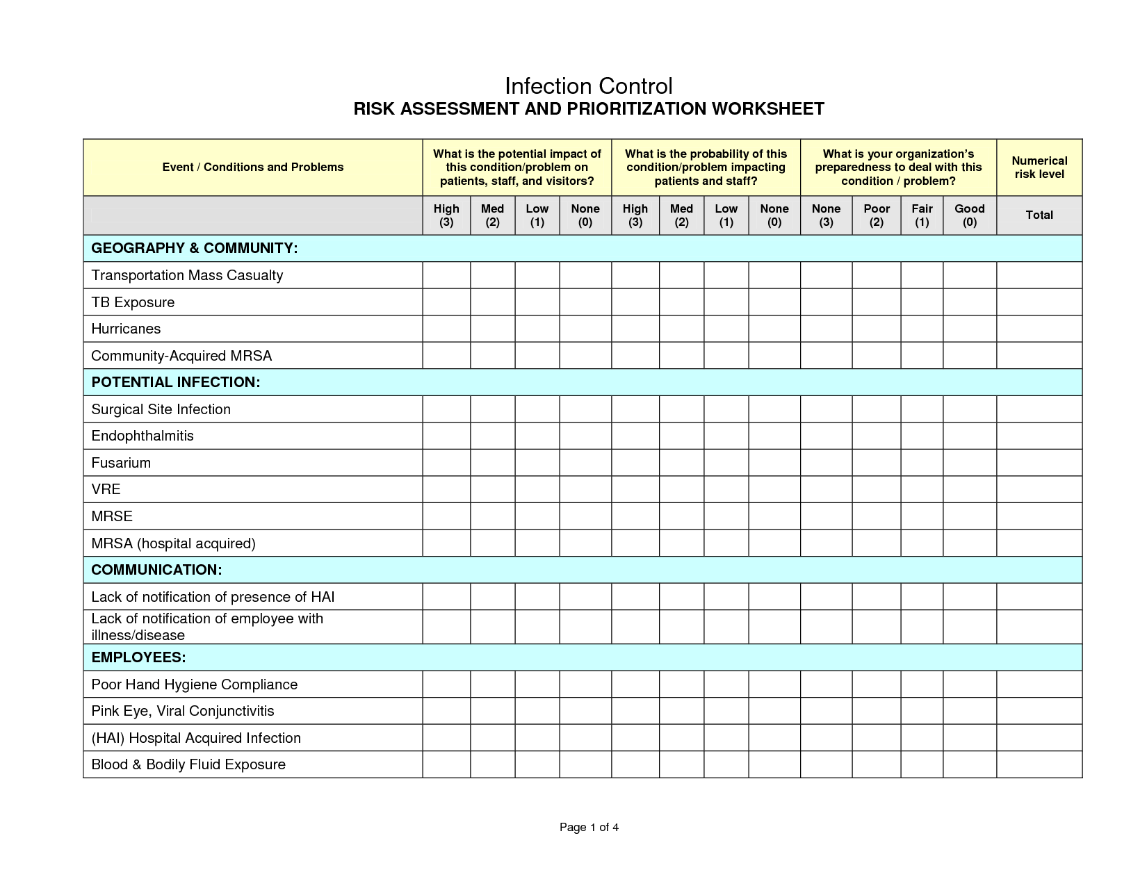 Infection Control Risk Assessment Worksheet