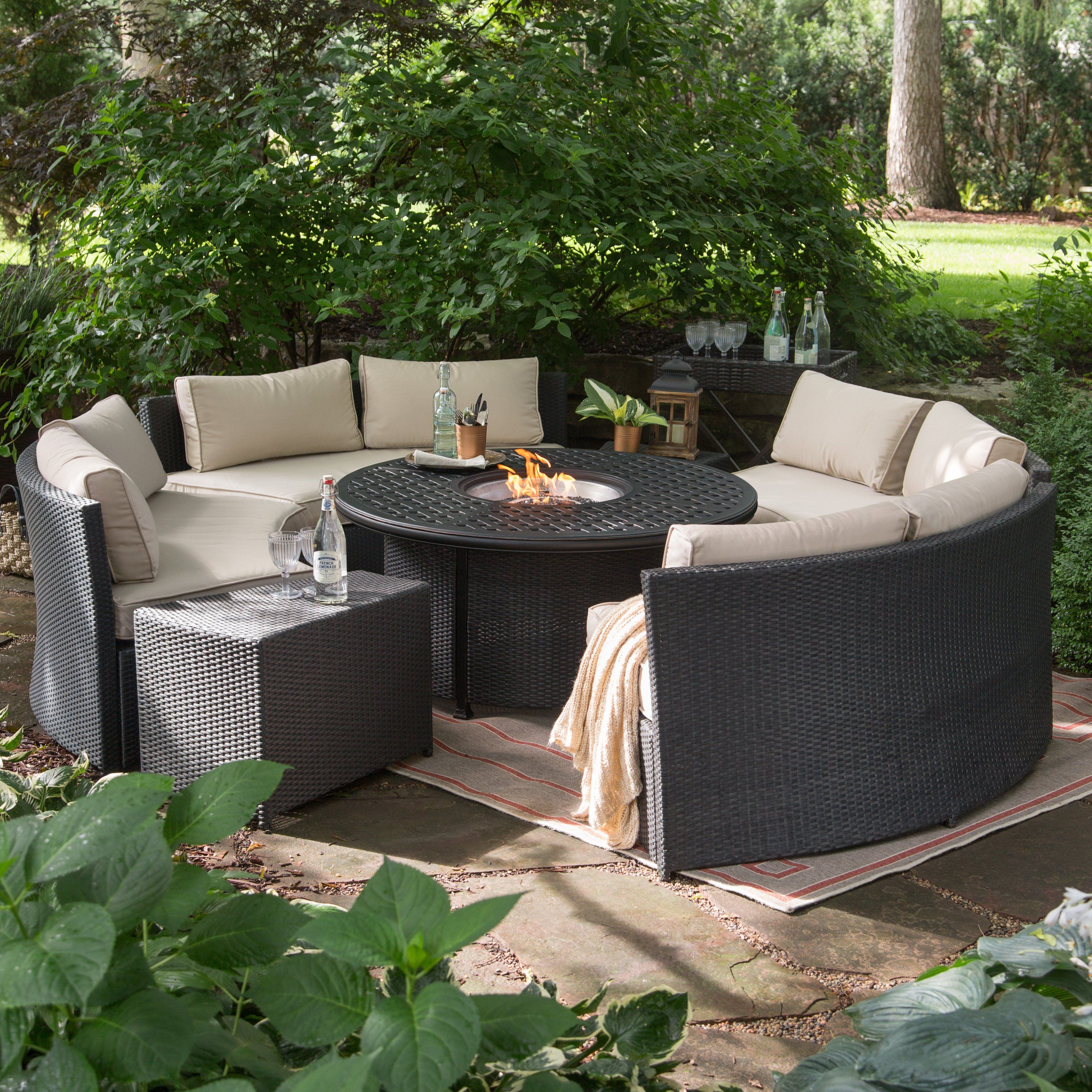 Belham Living Meridian Wicker Chat Set with Round Weave