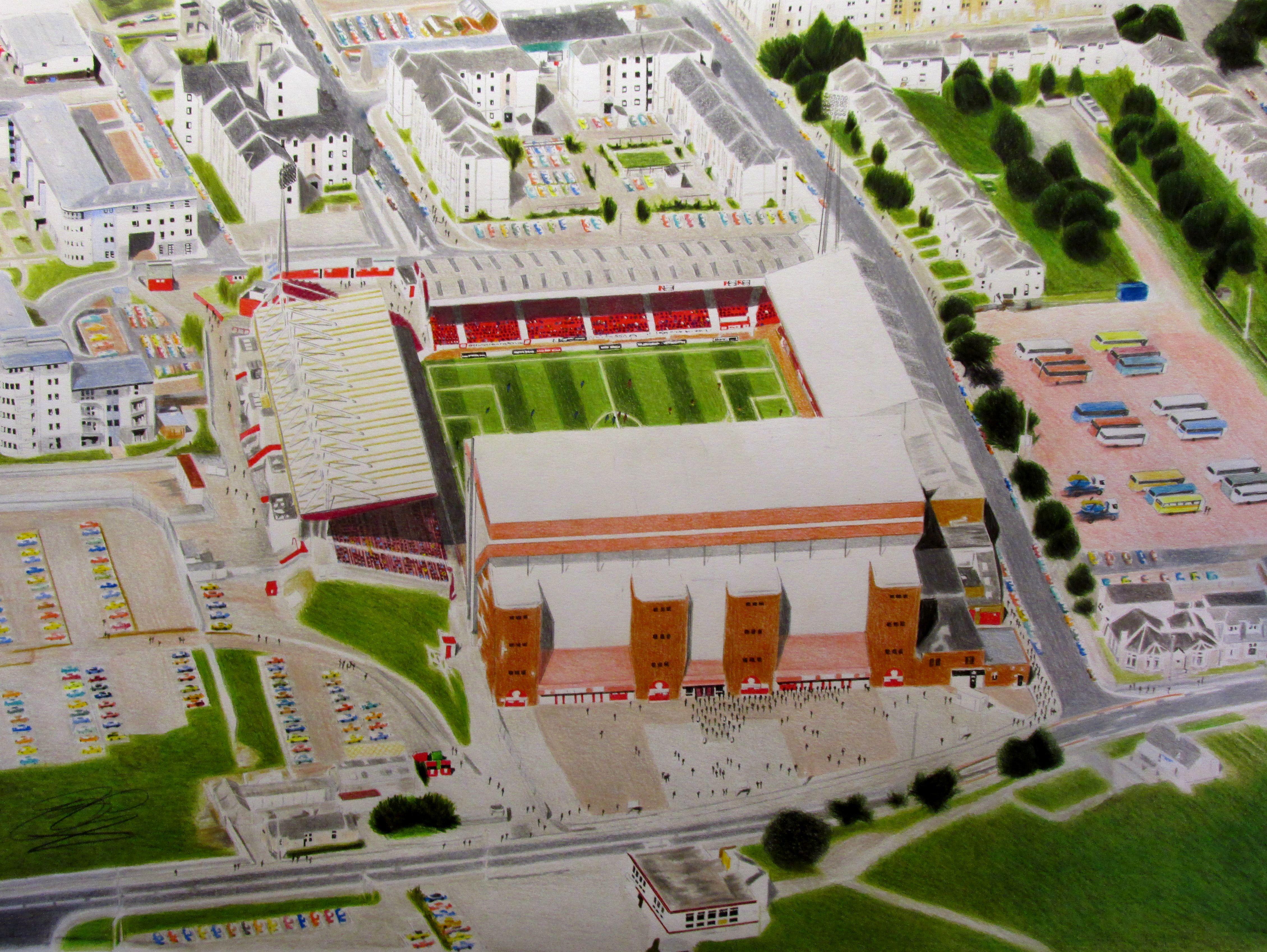 Pittodrie Stadia Art Aberdeen FC http//stores.ebay.co