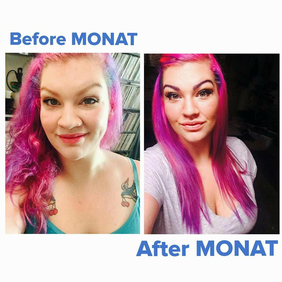 AHHmazing before and after using Monat's Balance line