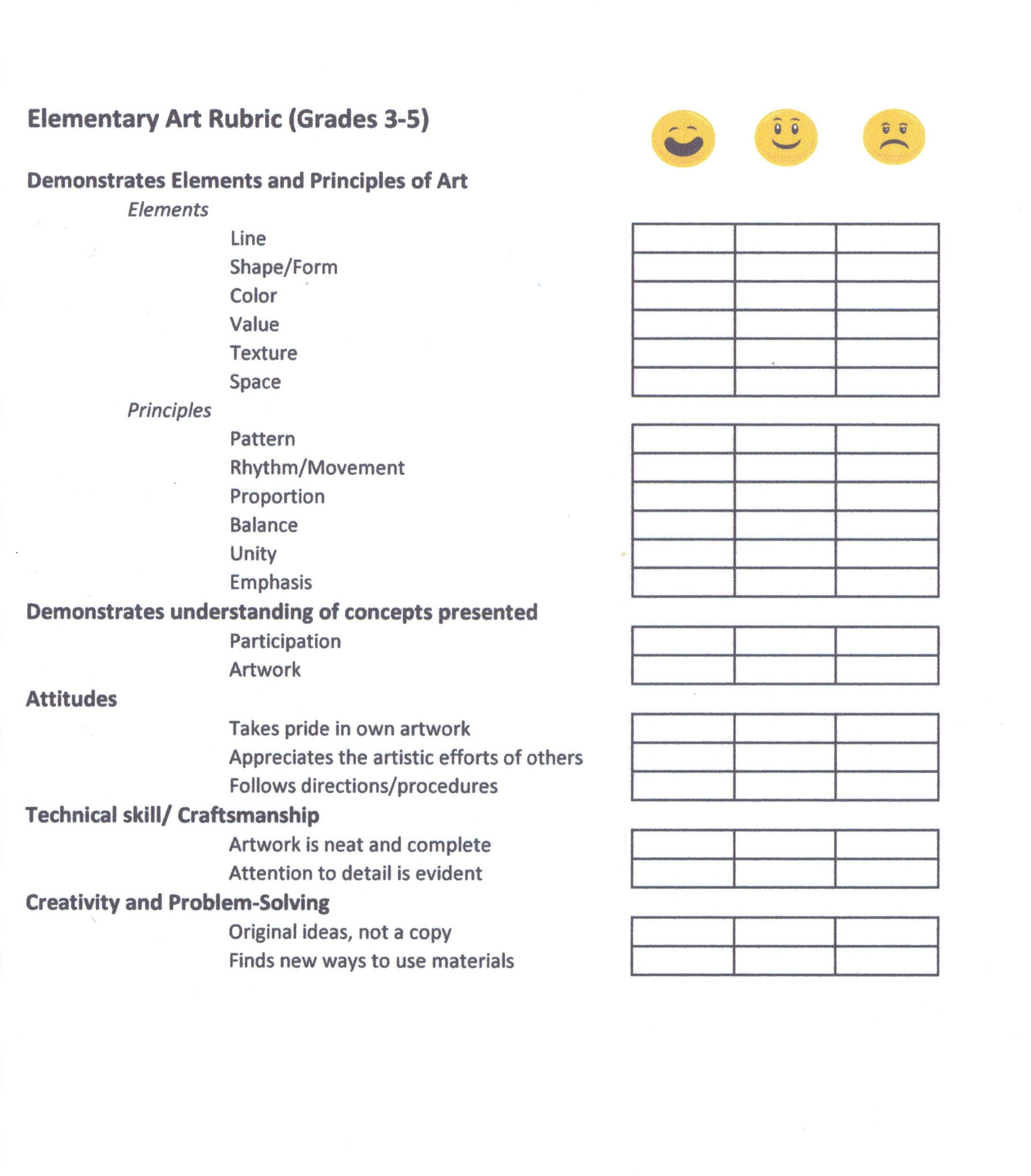 This Is A Rubric I Use To Score My Upper Elementary Art