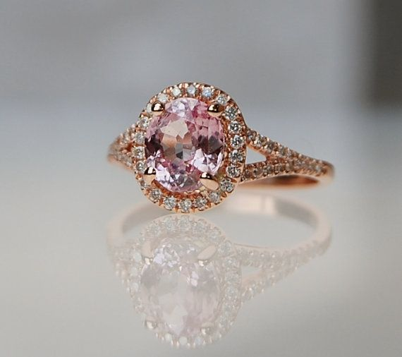 Reserved 2ct Oval Champagne Peach Shire Diamond Ring 14k Rose
