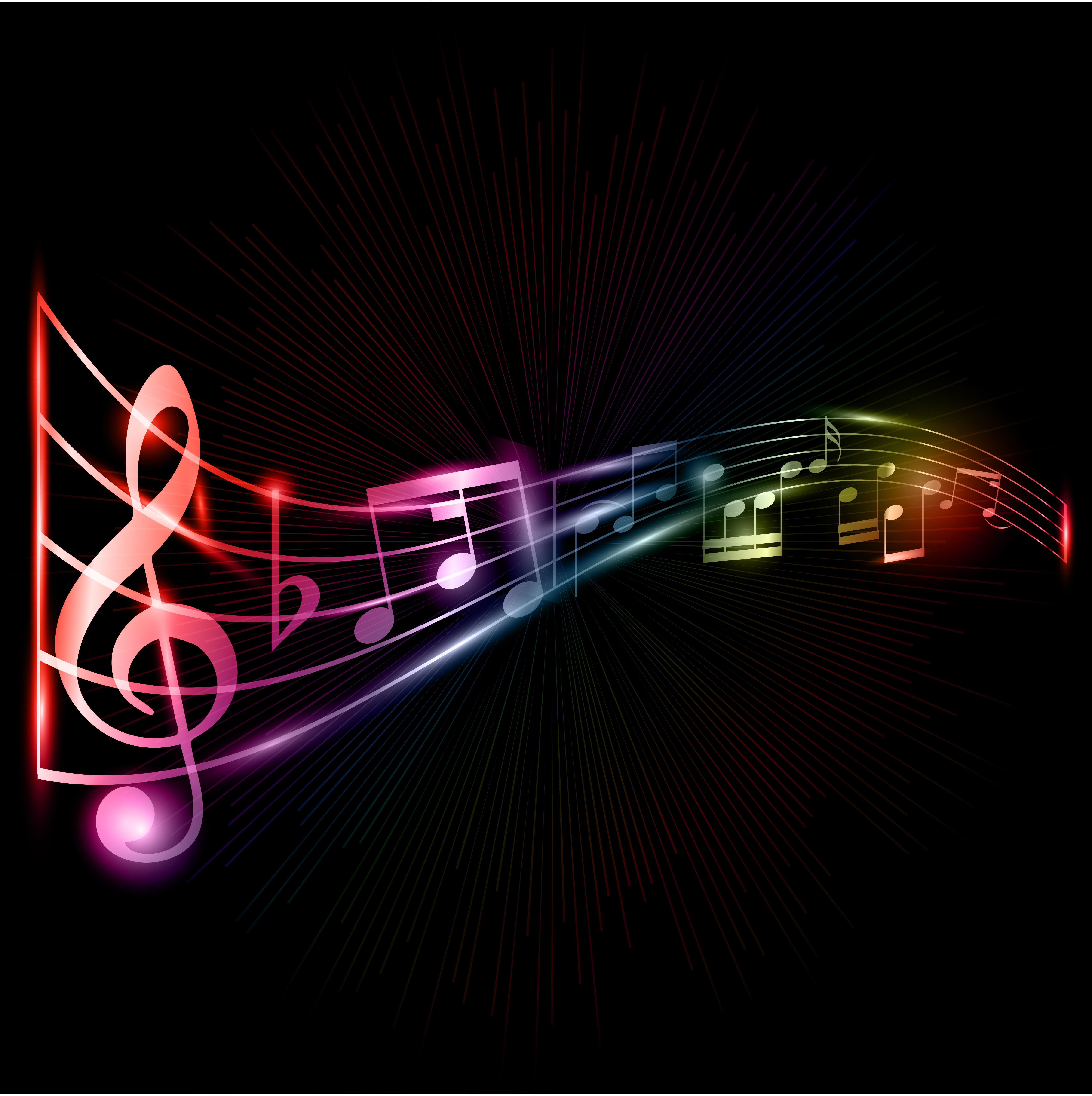 Neon Music Notes Background Home Bio & Philosophy