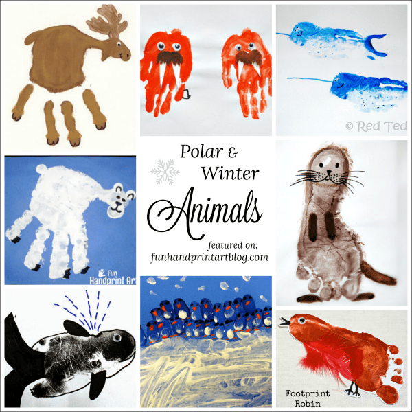 Polar and Winter Animal Crafts made with handprint
