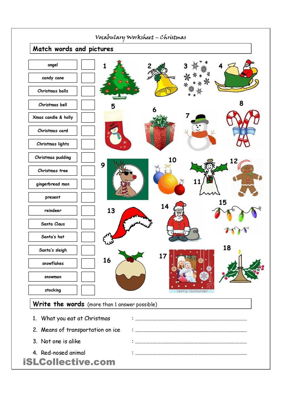 Vocabulary Matching Worksheet Xmas EN Christmas