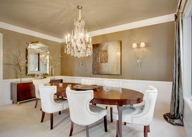 Modern Crystal Dining Room Chandeliers Combined With Wooden Oval Table Decolover