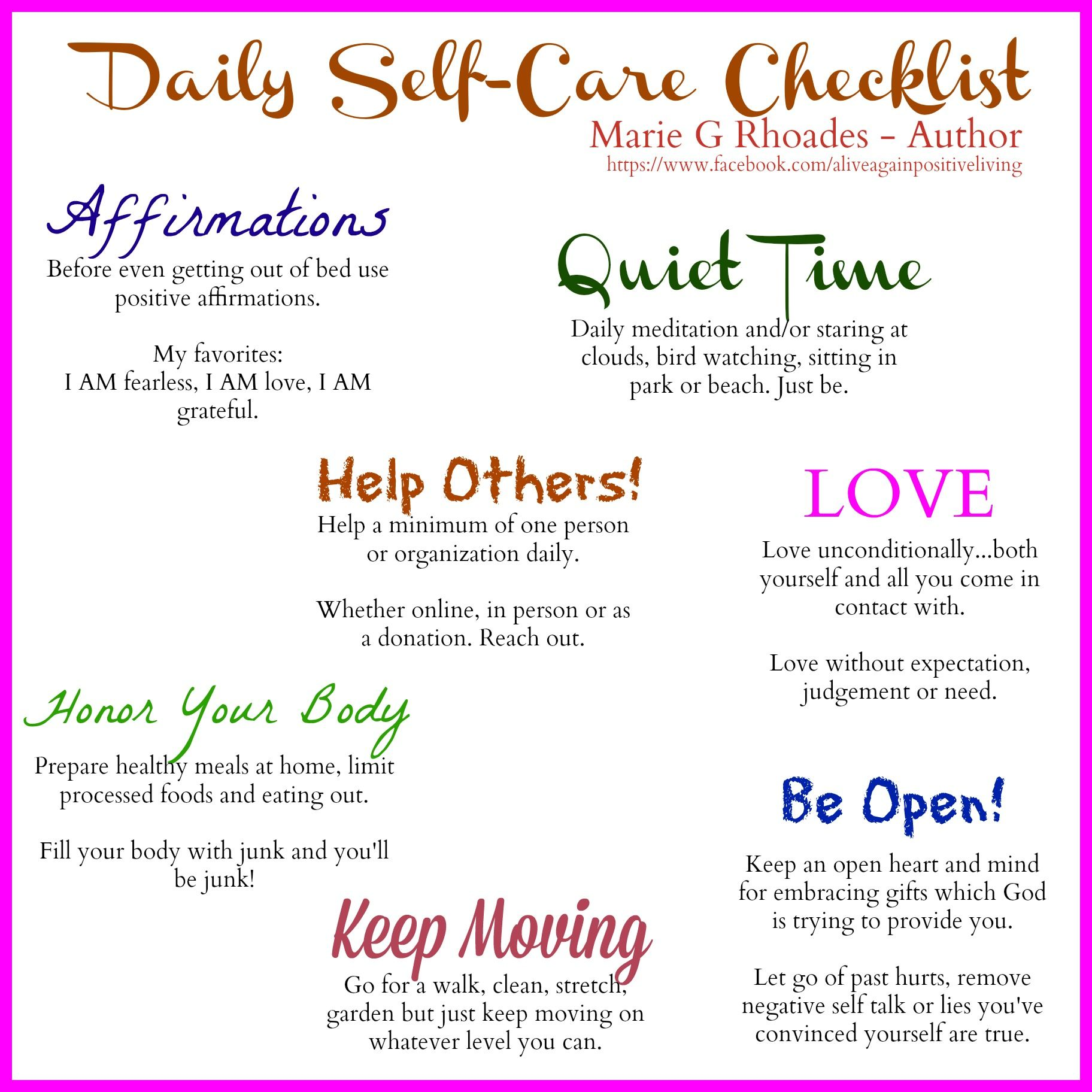 Daily Self Care Check List