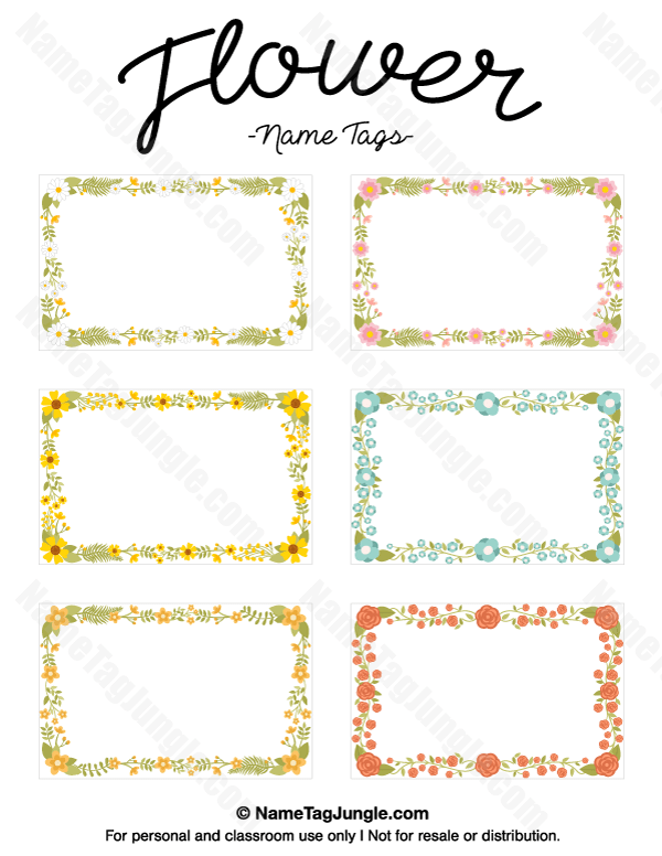 Free printable flower name tags. The flowers include roses