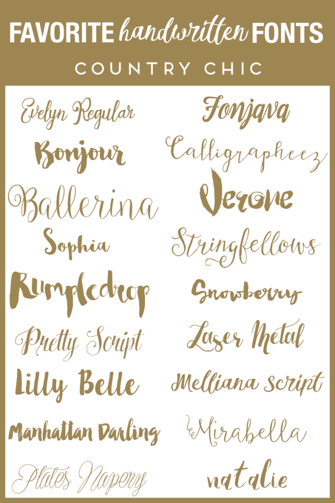 Favorite Handwritten Fonts Country Chic Fonts