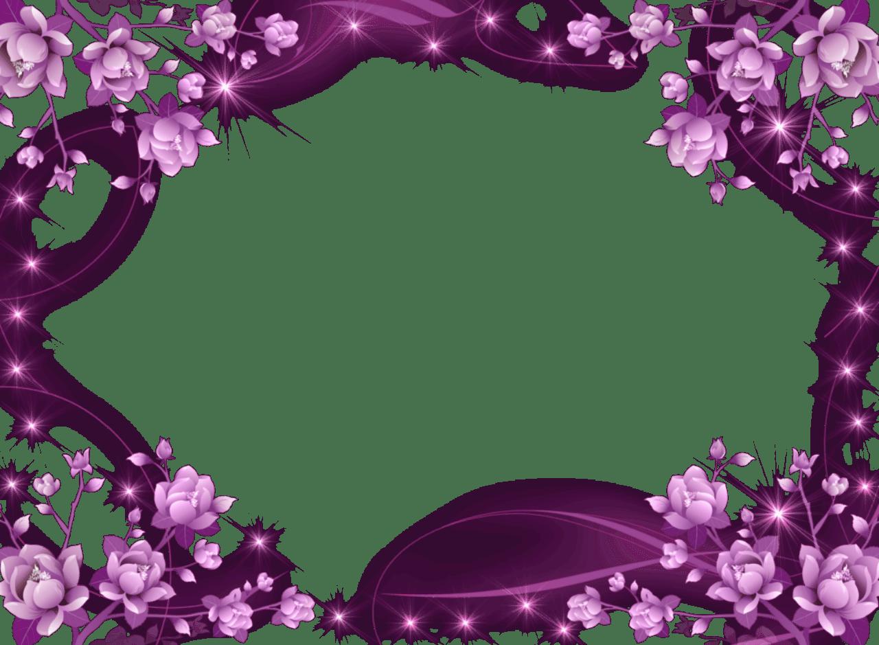 Purple Flower Frame PurpleFlowersandSparklyStars