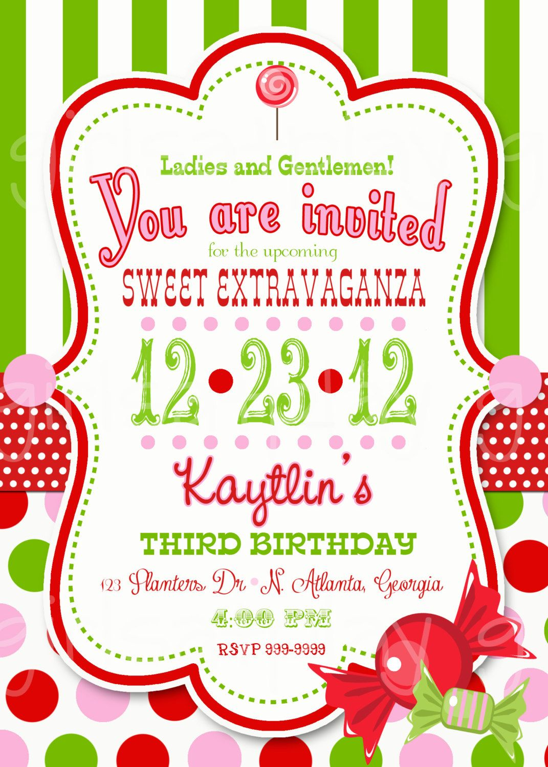 Circus Christmas Birthday Invitation Candy Green White