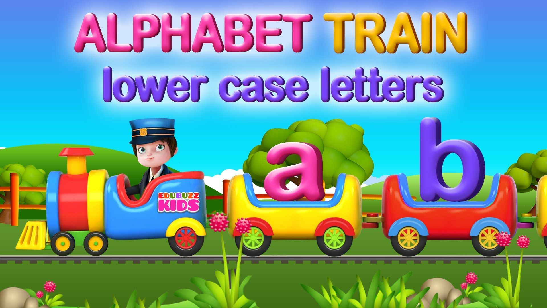 Alphabet train for learning lowercase letters a b c d e f