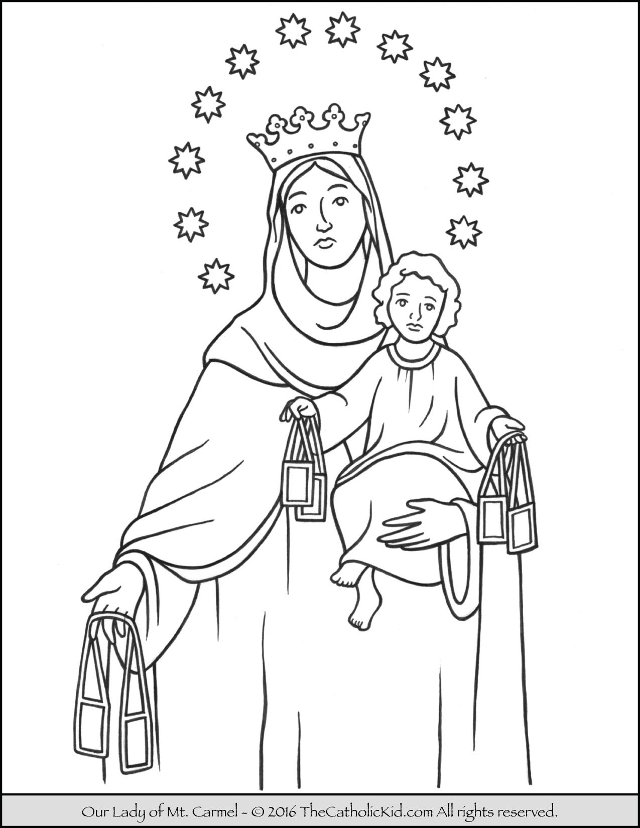 Our Lady Of Mt Carmel Coloring Page