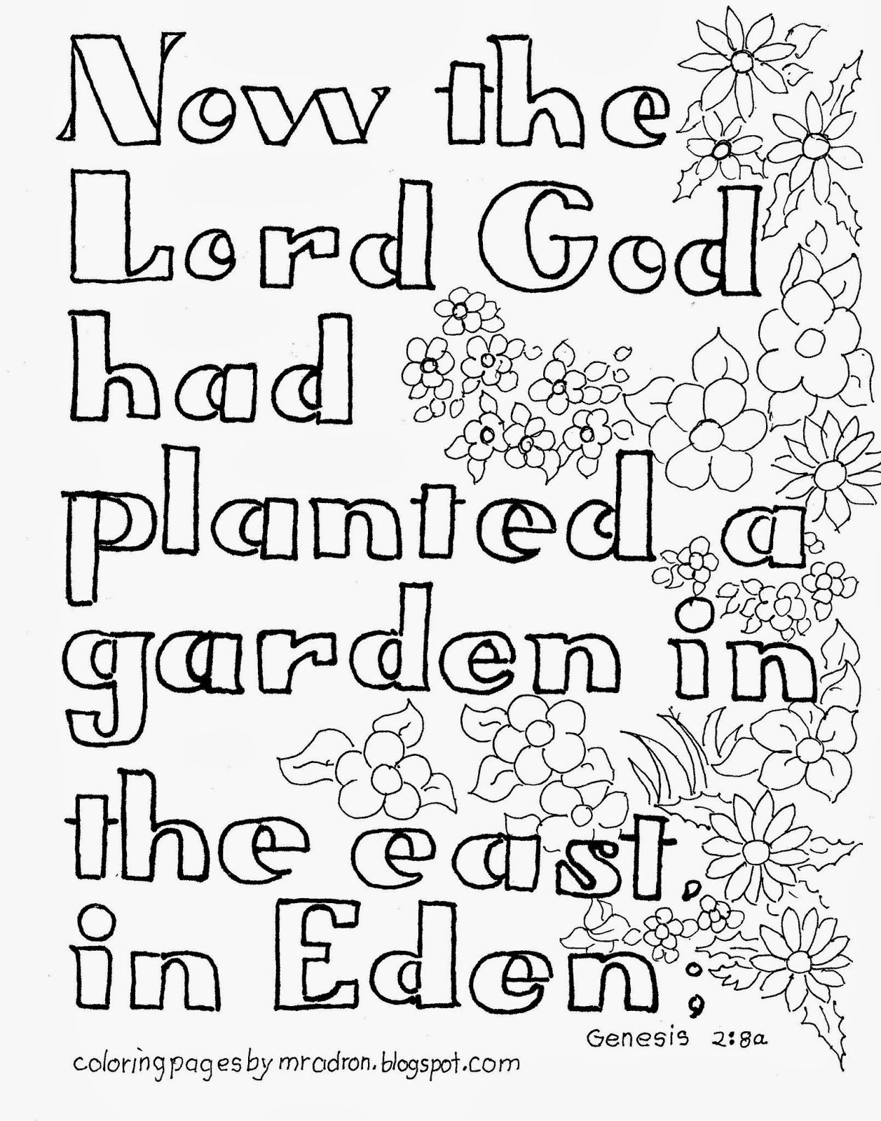 Coloring Pages For Kids By Mr Adron Garden Of Eden Bible