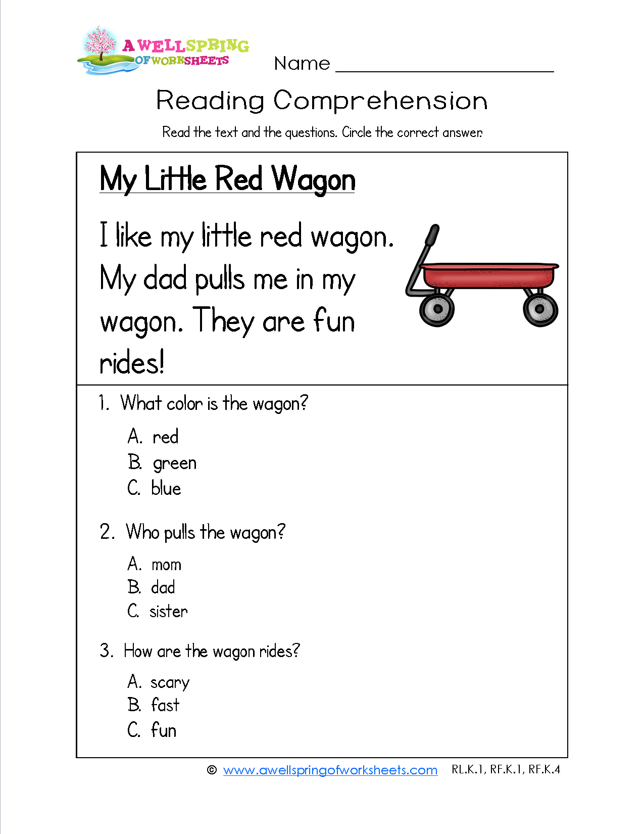 Printable Reading Comprehension Worksheet Kindergarten