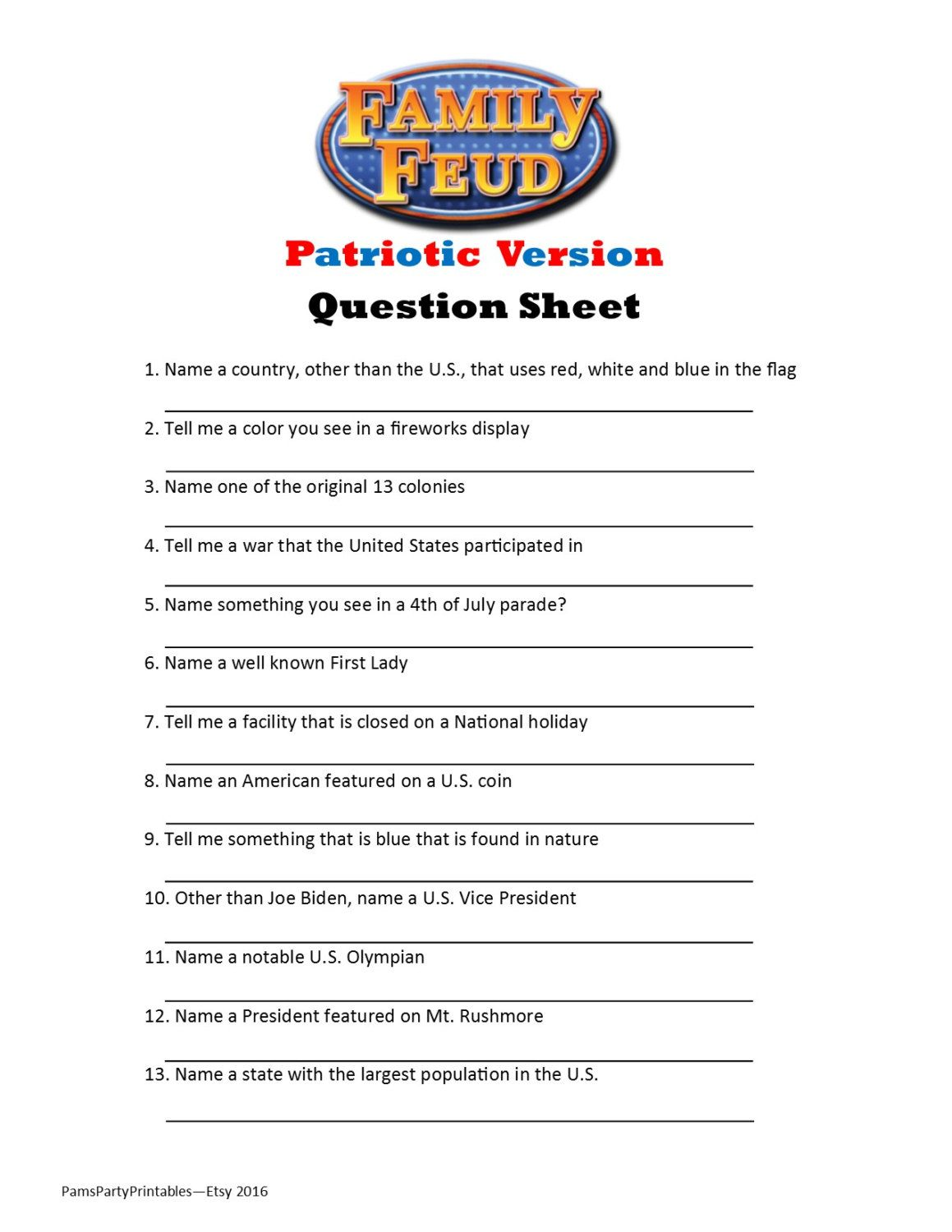Printable Patriotic Family Feud Game Question Sheet