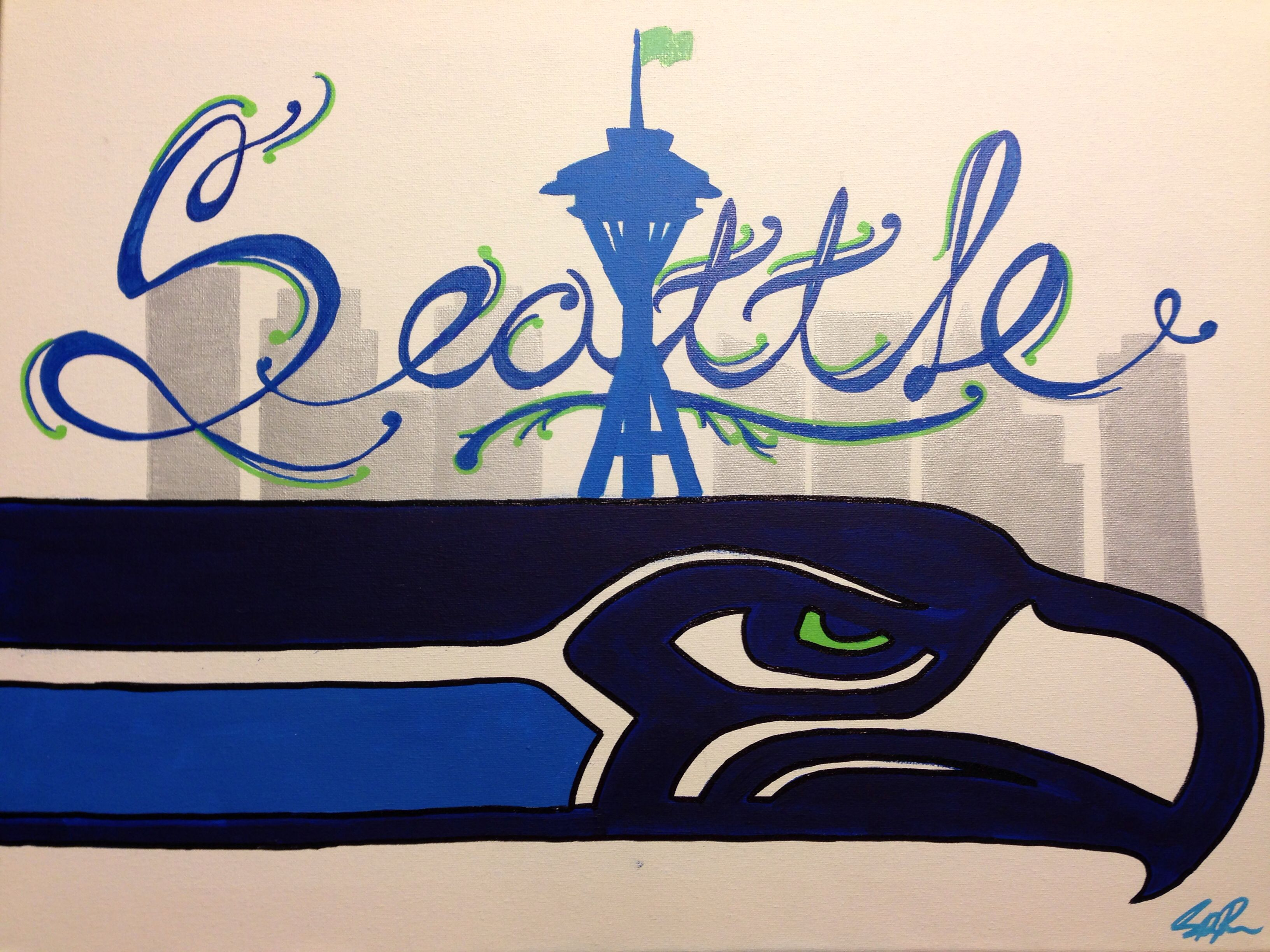 Seattle Seahawks painted canvas with space needle. Check