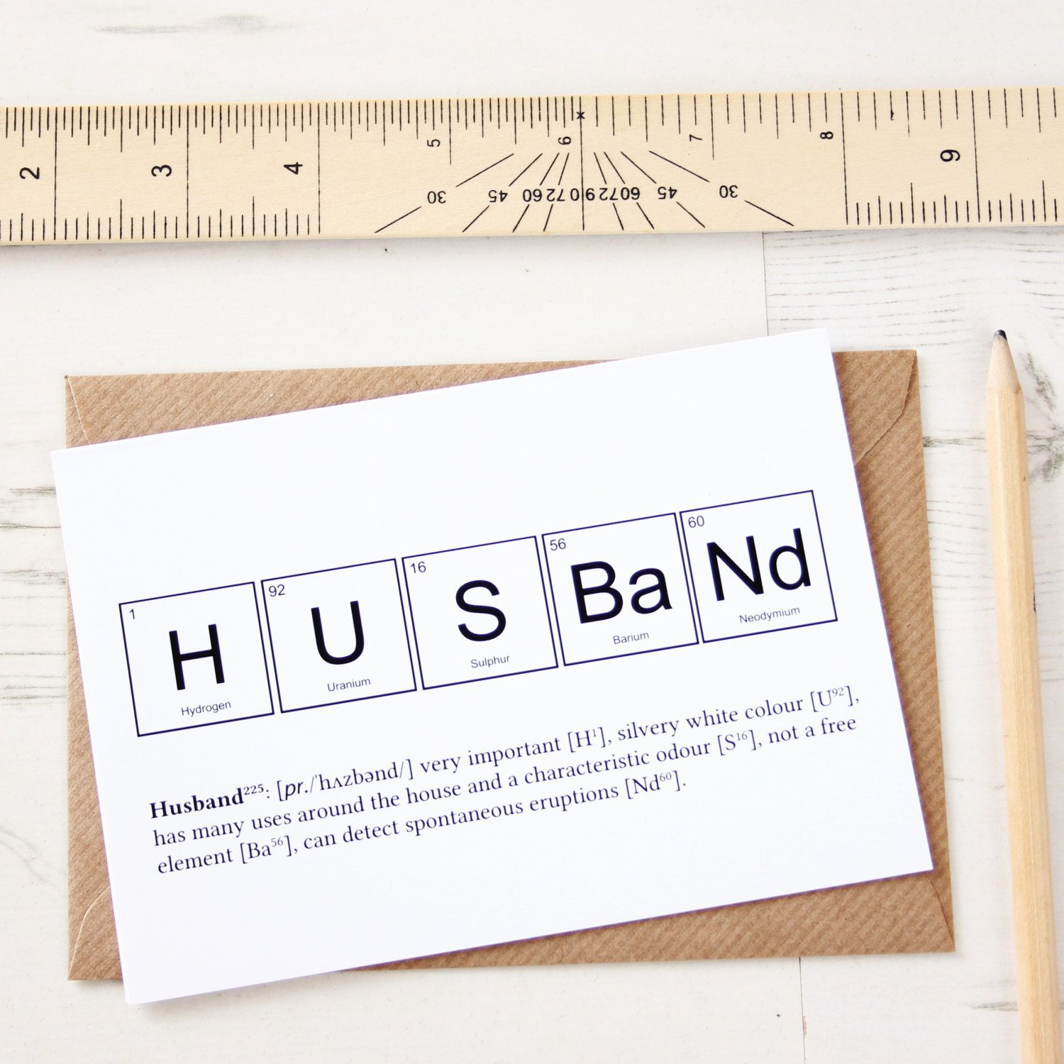 This card depicts the elements of a husband using chemical