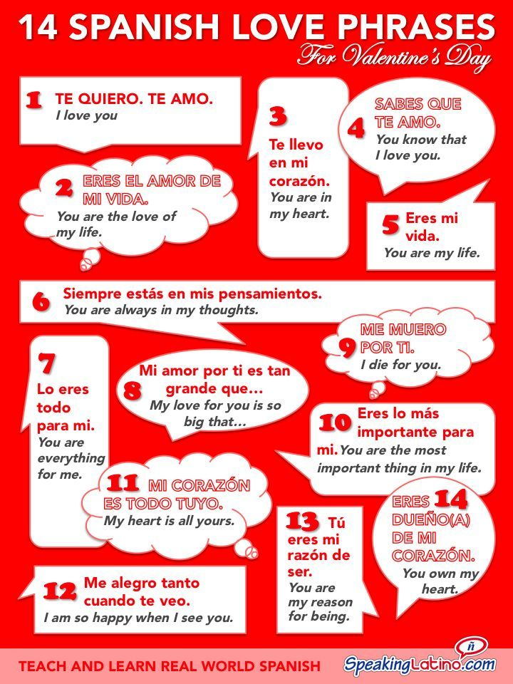 Spanish Love Phrases For Valentines Day Infographic
