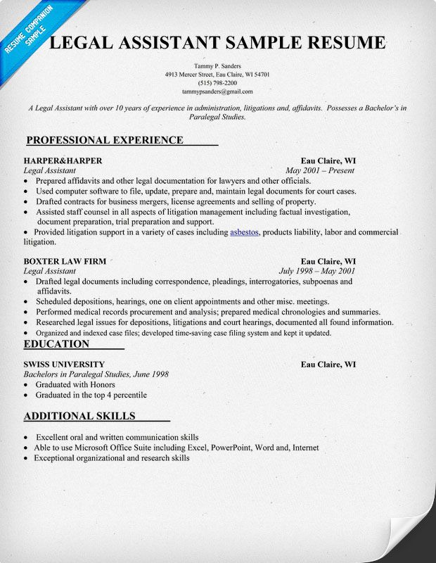 Paralegal Resume Example Sample Resume Paralegal Resumes Examples