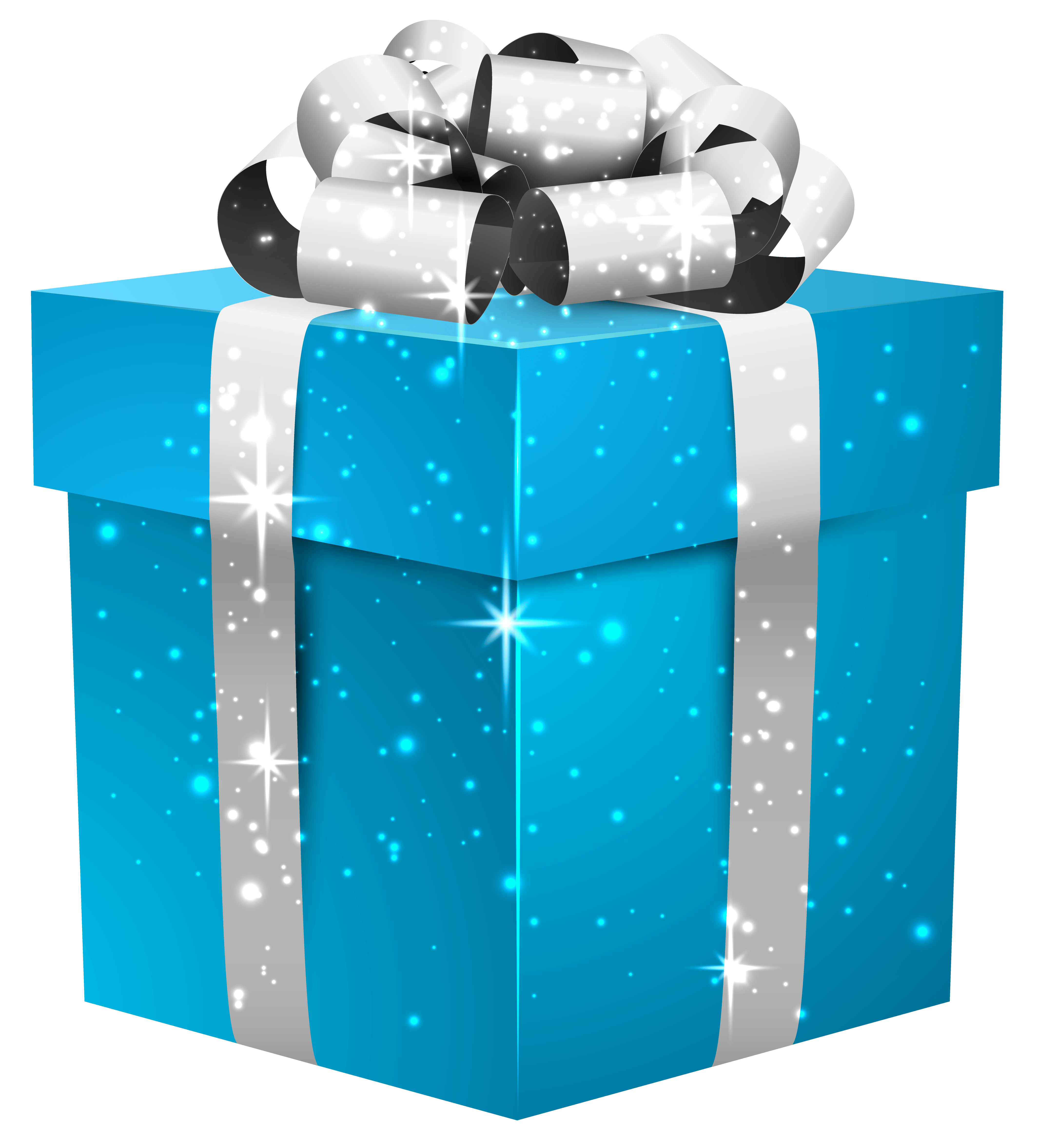 Blue Shining Gift Box with Silver Bow PNG Clipart Image