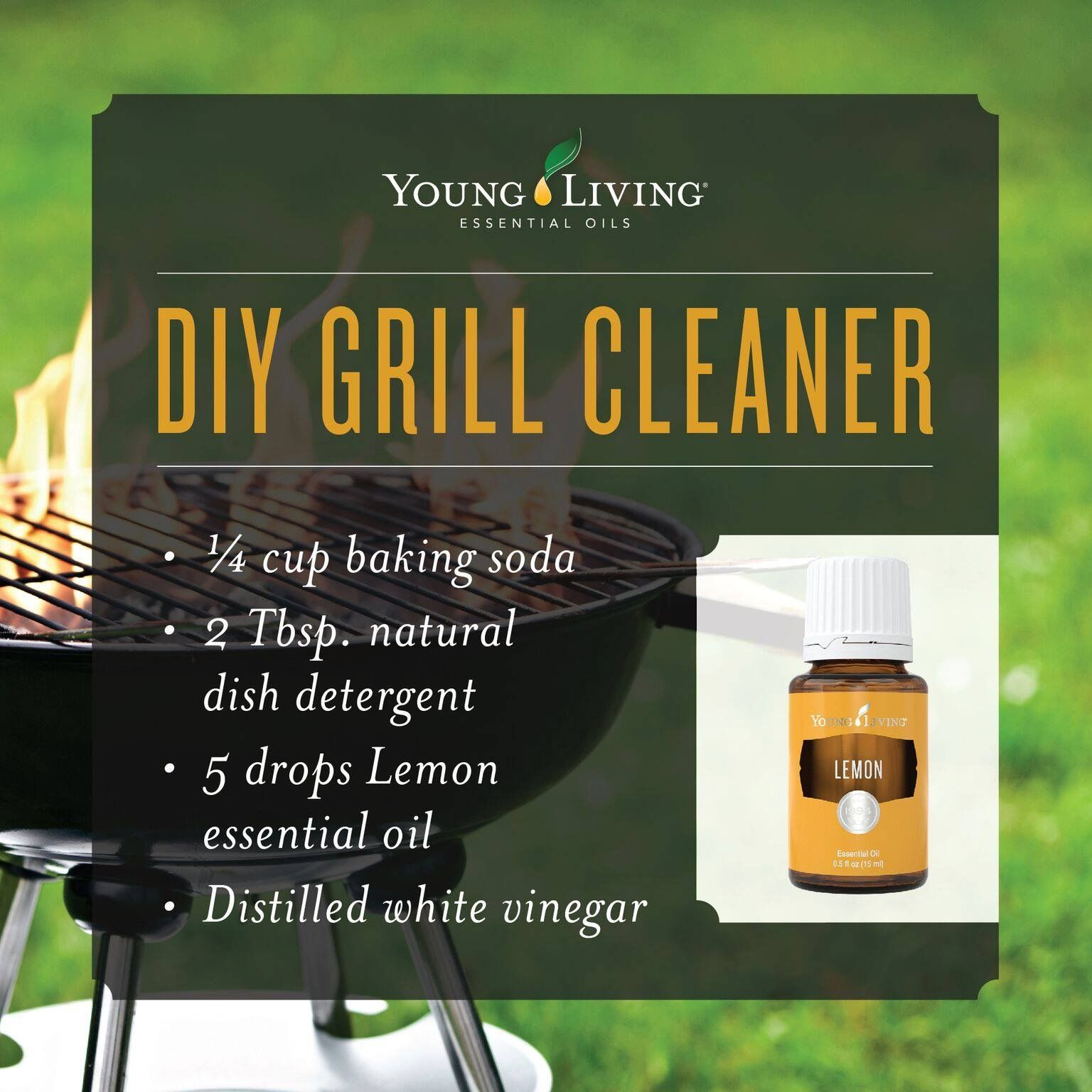 Natural grill cleaner with Young Living essential oils