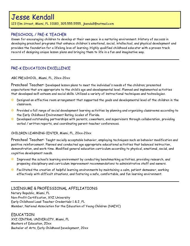 samples preschool teacher resume preschool teacher resume sample
