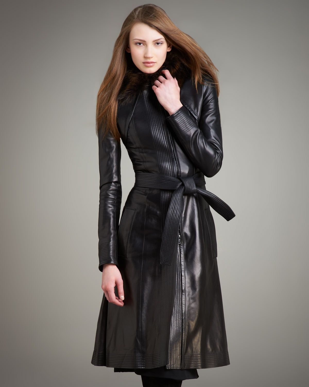Narciso Rodriguez long leather coat Leather Trench Coats
