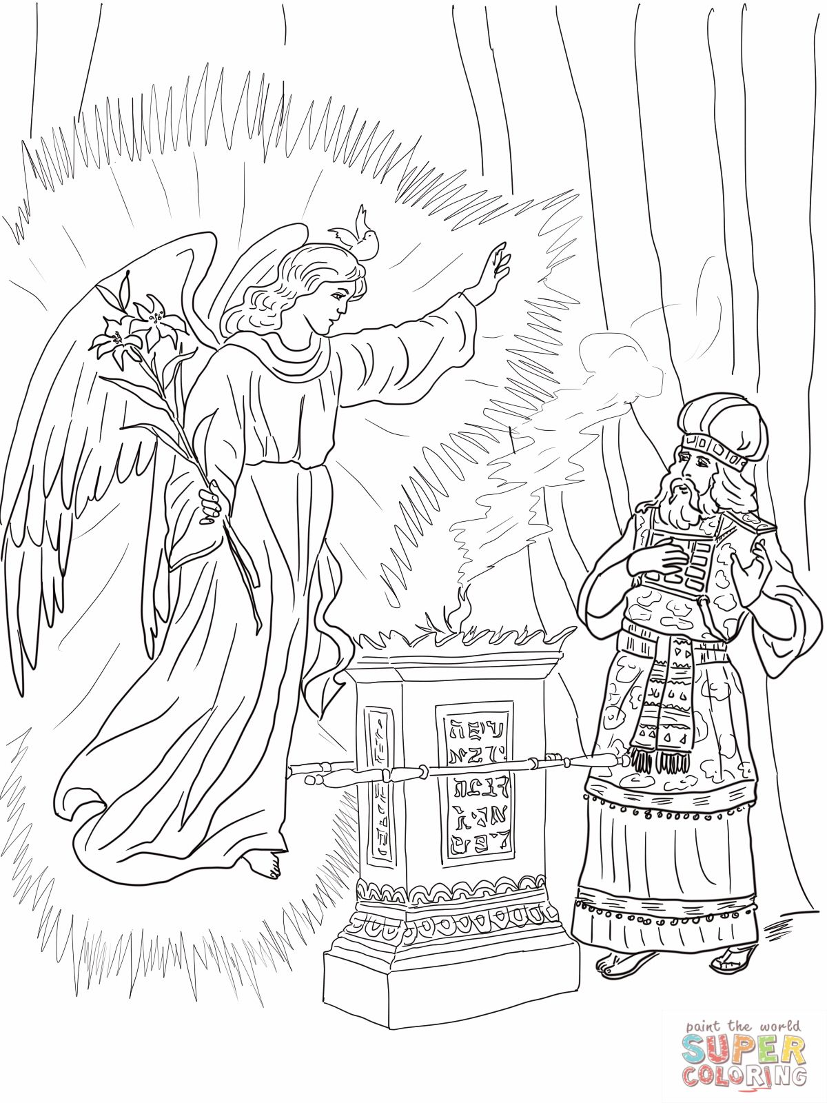 2 Angel Visits Zechariah Coloring Page