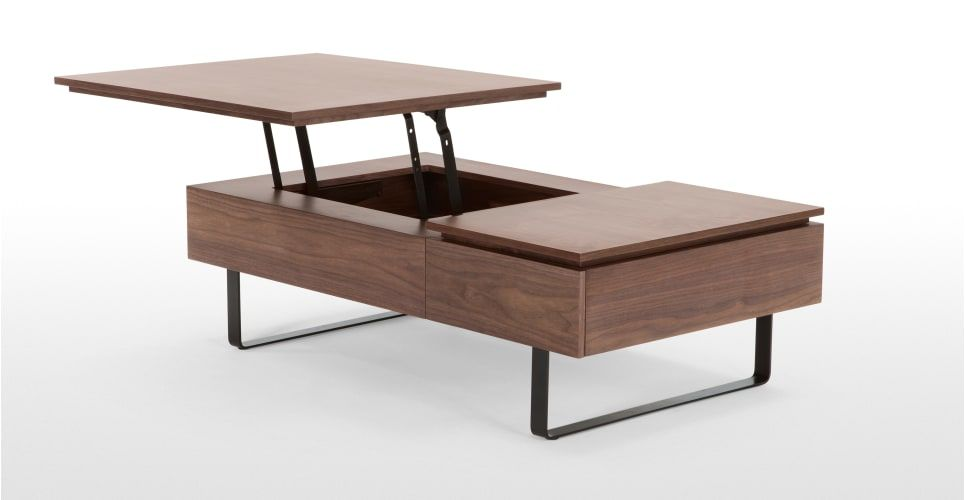 table basse fonctionnelle avec rangement flippa noyer