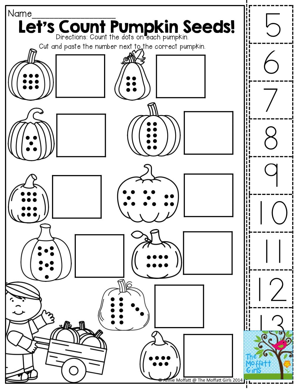 Fall Color And Count Worksheet