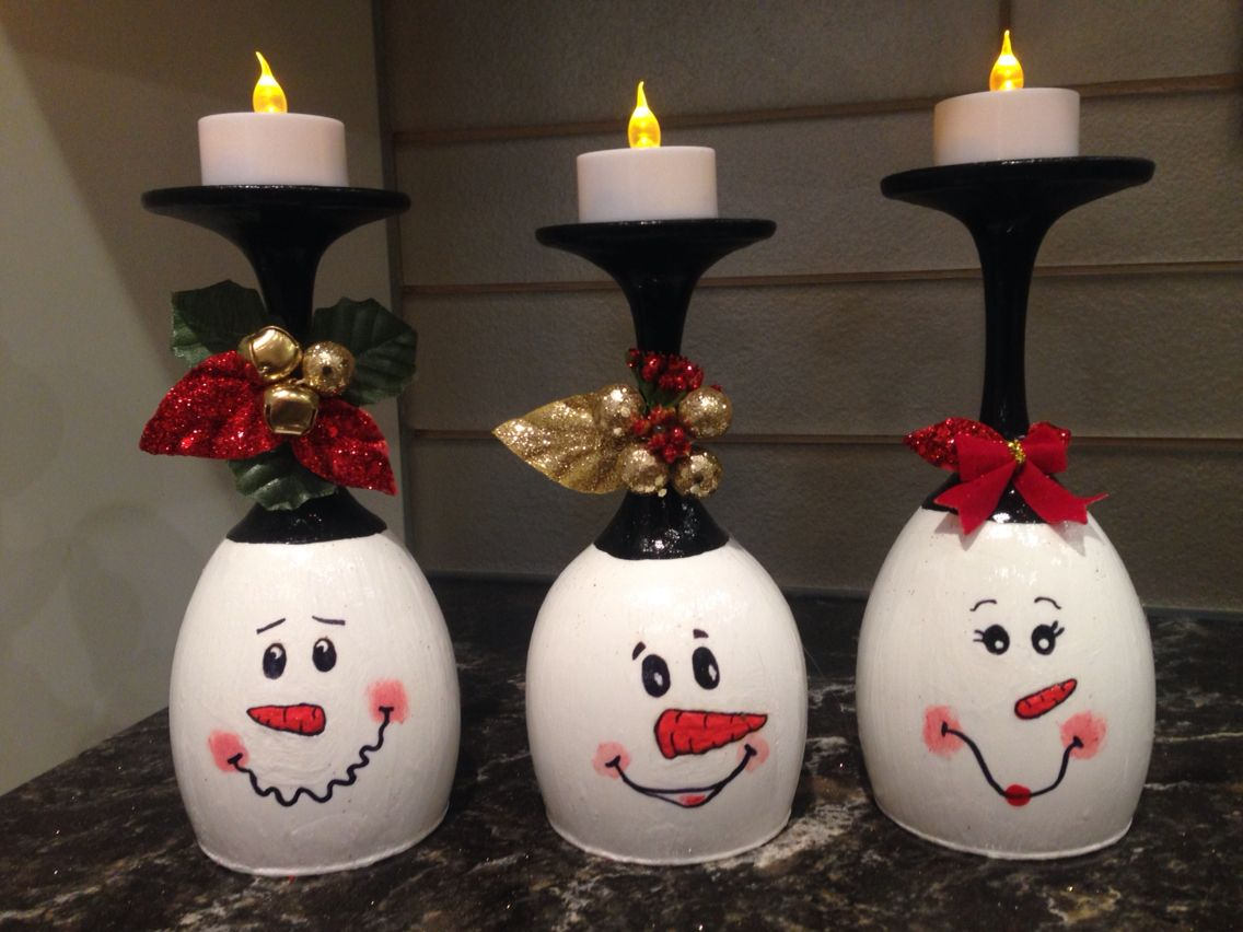 Diy wine glass snowman tea light candle holder Christmas