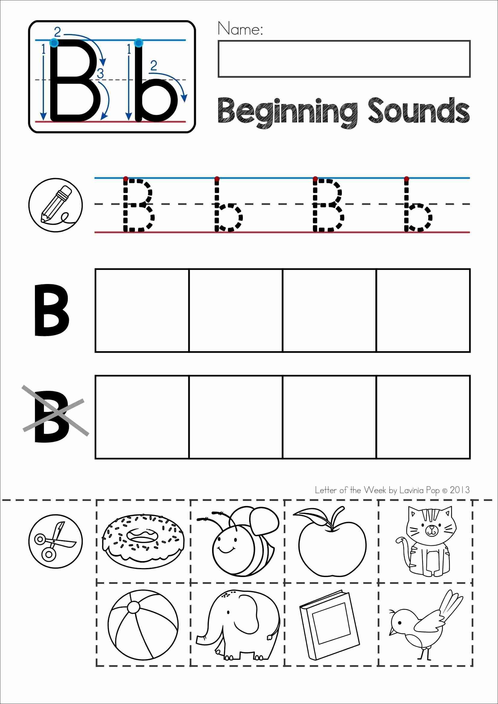 Free Phonics Letter Of The Week B Beginning Sounds Cut