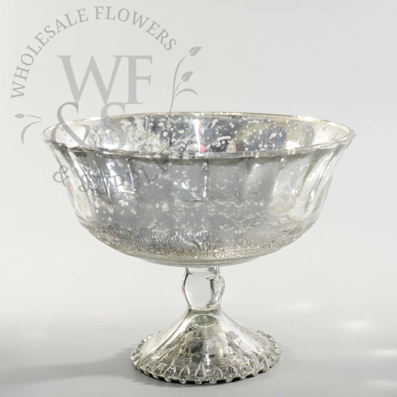Glass Pedestal Bowl Silver
