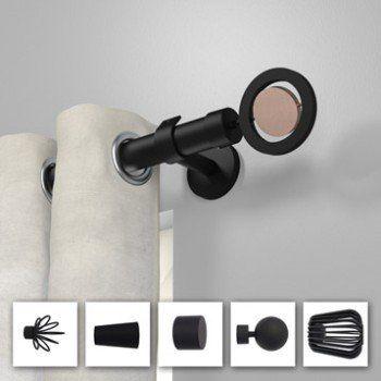 tringle a rideau design noir mat 150 cm inspire leroy merlin