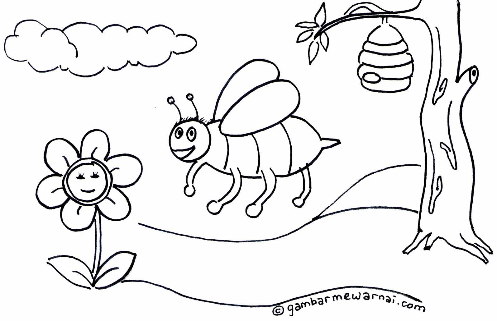 Contoh Gambar Mewarnai Lebah Places to Visit Pinterest