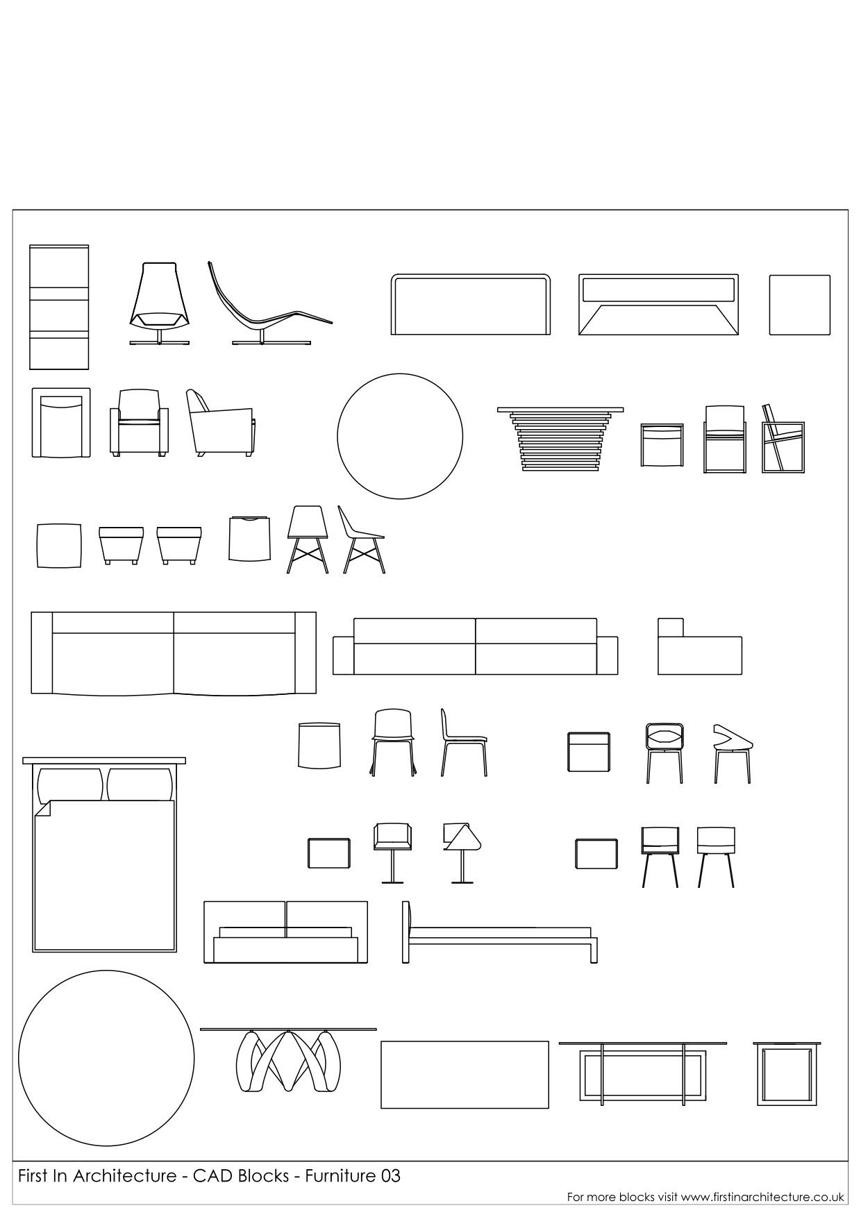 CAD Blocks Furniture Pack 03 First In Architecture