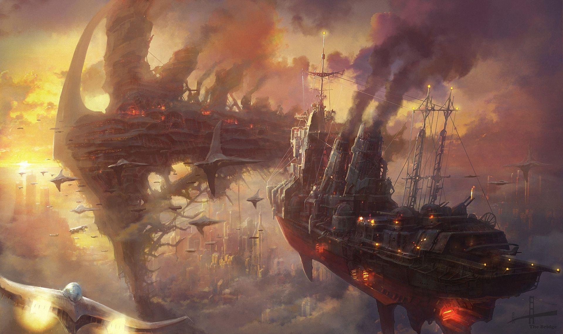 Steampunk Ships Desktop Background wallpaper free Design
