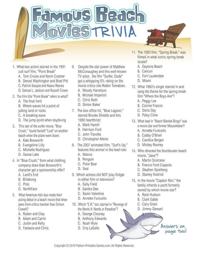 Beach Games Famous Beach Movies Trivia, 6.95 Beach