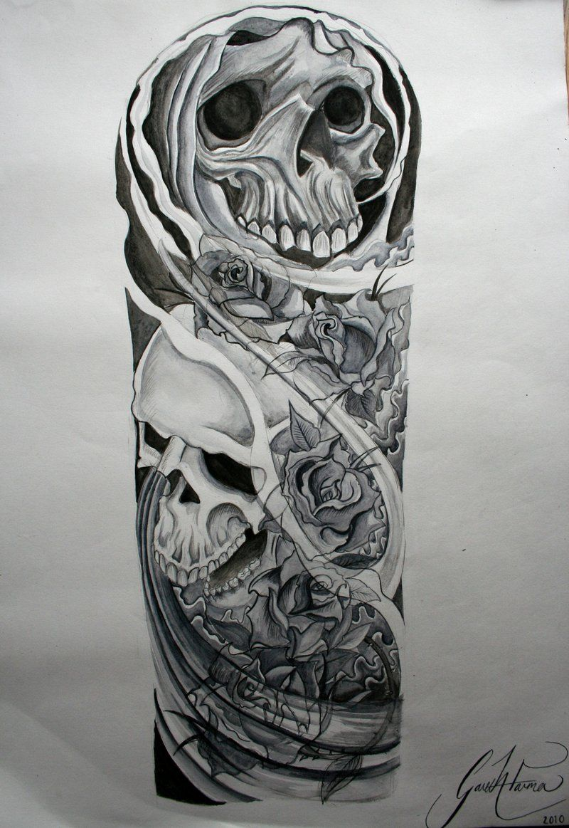 skull half sleeve tattoo drawings Projects to Try