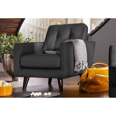 fauteuil design a accoudoirs forme droite dossier capitonne tissu effet tweed