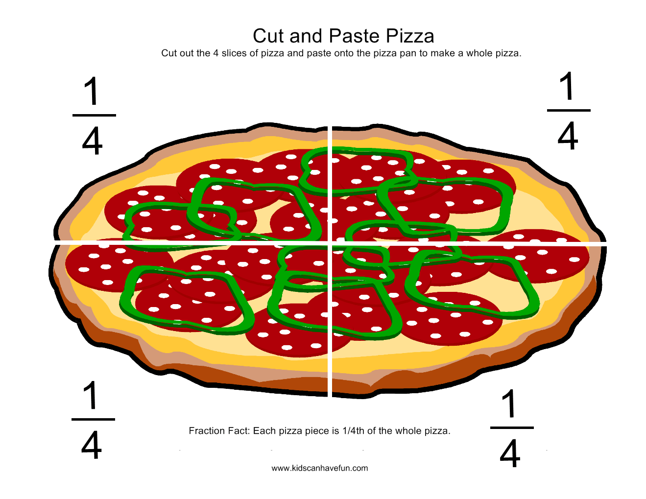 Cut And Paste Pizza Fractions More Math Worksheets And