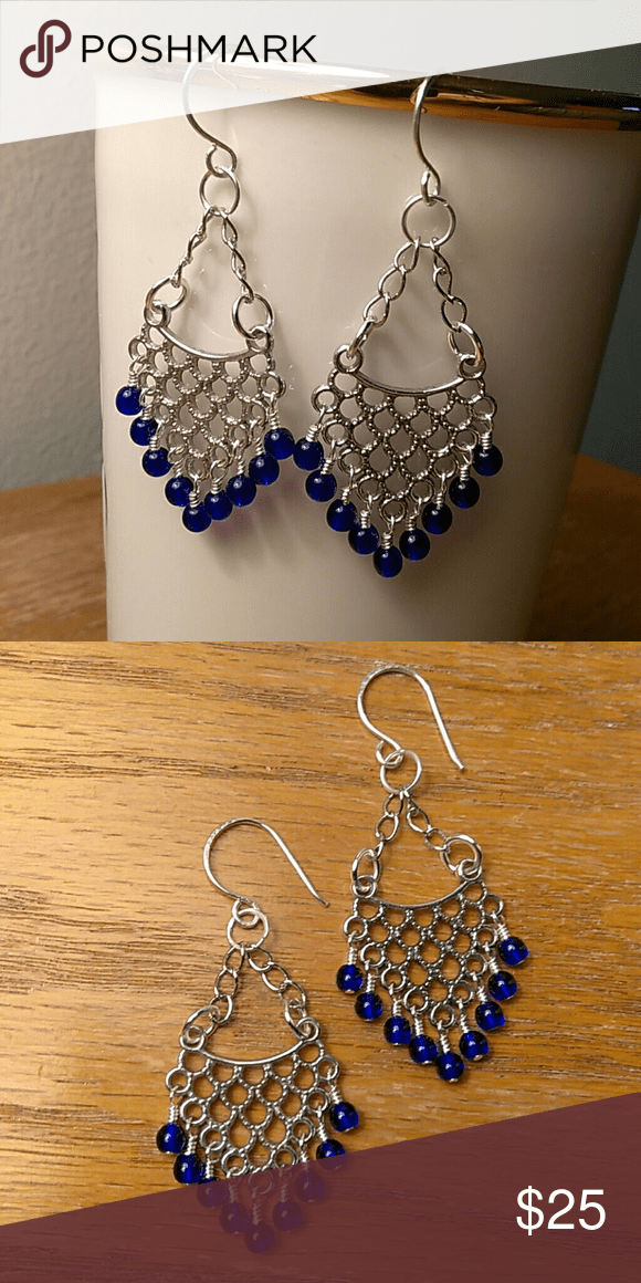 Deep Blue Chandelier Earrings The Movement Of Beads And As A Whole Gives