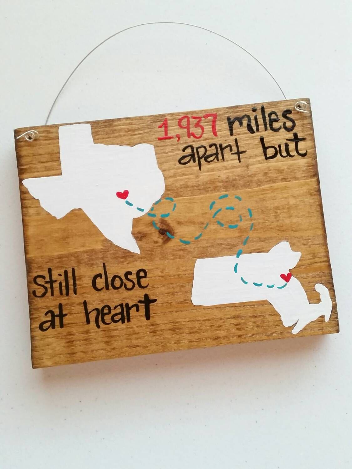 Best Friends Long Distance Family Wood Sign 5x7 State Gift