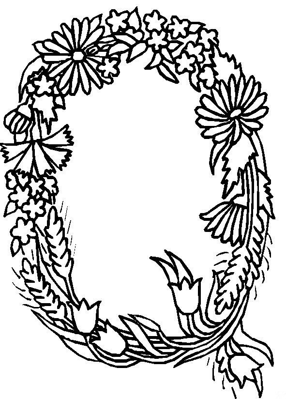 coloring page Alphabet Flowers KidsnFun Embroidery
